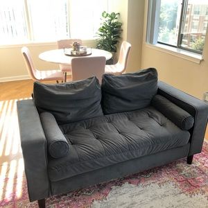 Grey Suede Loveseat